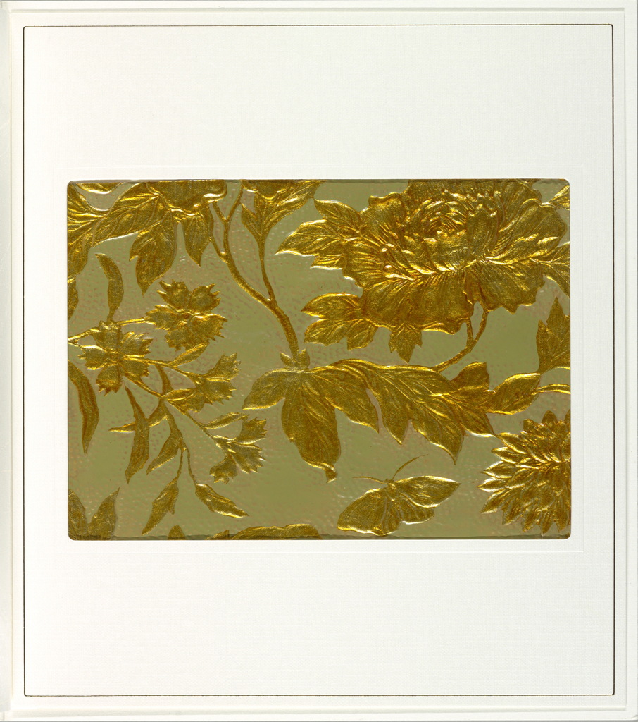 Foliage and a variety of flowers and butterfly. Embossed areas printed in gold against a pebbled beige or ecru background.