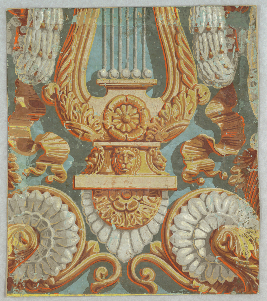 Vertical rectangle, with portion of a lyre, ribbons and volutes, printed in cane color, with shading in warm red-orange and highlights in white.