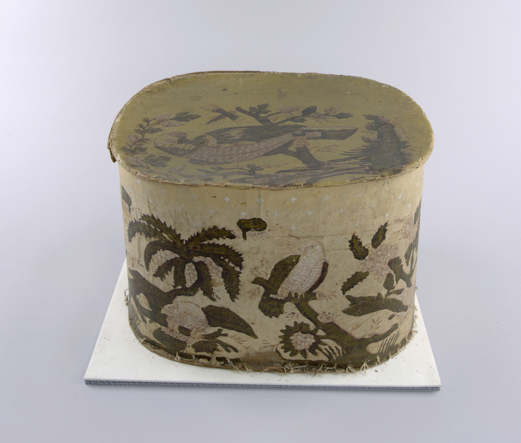 Very exotic foliage, resembling palm trees, with oversize parrots and dragonflies. The upper portion of the box contains a pattern of white stars.  Printed in pink and varnished green on a yellow ground. Very faded.