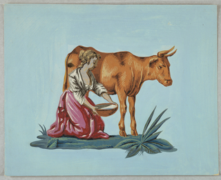 Figures of a cow and a milkmaid, on blue field.
