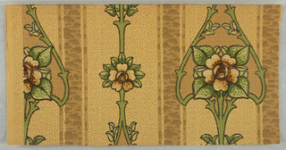 On patterned off-white ground with pattern showing throughout, vertical green/brown thick and thin stripes. Primary motif of off-white and brown central flower and green leaves framed by stylized green stems. In the Mission-style or Art Nouveau.