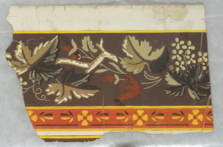 Small portion of a paper, probably for a border, showing a band of vine with grapes, leaves and flowers. Printed in yellow, orange, brown and black.