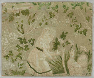 "a,b) On pale green ground a little girl in pink dress feeding turkey amidst white floral vine with green leaves; c) Unconnected fragment of same paper,with turkey in his pride. Mounted on cardboard. Used by Katzenbach and Warren for Wallpaper ""Farmington"""