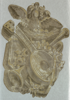 Trophy, at top of which is bird on nest. Below are crossed musical instruments and flowers.