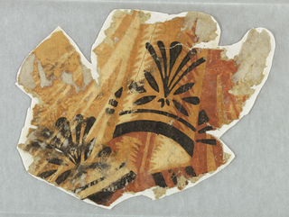 Irregular fragment of empire border with drapery swags in cream, brown, and rust with black sprigs and bands superimposed.  Printed in black, rust, light brown and off-white.