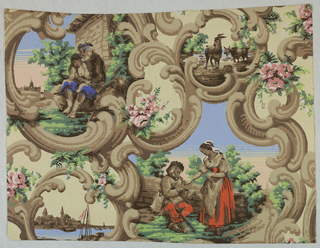 Horizontal rectangle giving nearly a complete repeat of a design of Rococo scrolls enclosing two large and two small scenic landscape cartouches. Two figures in both large cartouches, while the smaller cartouches contain goats in one and a harbor with boats in the other. Roses and ferns entwined in scrolls.