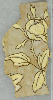 a) Beige ground with green leafy clusters. Green vertical ladder band; b) Beige paper with trace of brown and orange design at one side; c) Gold on beige. Diagonal diaper. Stylized foliate forms at intersections and at centers; d) Large cream-colored magnolia-like blossom and leaves. Beige ground.