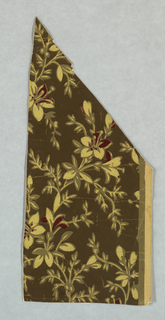 Small portion of a paper showing an all-over fuchsia pattern. Printed in cream and dark neutral green on lighter neutral green ground.