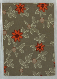 Small seven petalled flower in bright red, each on a scroll-like stem. Stems cross; at points of intersection there is a brown dot. Leaves and stems are outlined in white while the flower has a dark brown line. Printed in bright red, brown, white and gray-green on gray-brown field.