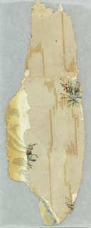 Additional fragment, originally -2b. Several layers of sidewall paper and news print. The top layer contains small floral sprigs on a moire ground. Printed in red, blue, tan and black on a tan ground.