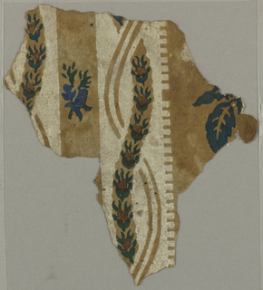 Irregular fragment of paper with white stripes containing serpentine bands set with rosebuds, and reserve stripes printed with rose and rosebud.