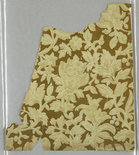 An asymmetrical design of stylized flowers profusely distributed over surface. Printed in deep ivory on cream. The entire background is gilded.