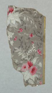 Scattered bouquets of morning-glory with secondary pattern of simple vine forms. Printed in pinks, white and gray on gray ground.