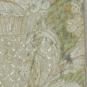 Two fragments which join together at the bottom of the urn. Probably from Newport houses. Bouquet of flowers in an urn. The urn is supported by foliage. Swags of strung beads are suspended from urns. The background is covered by green striations and gray trellis designs. Printed in green, white and salmon-color on gray background.