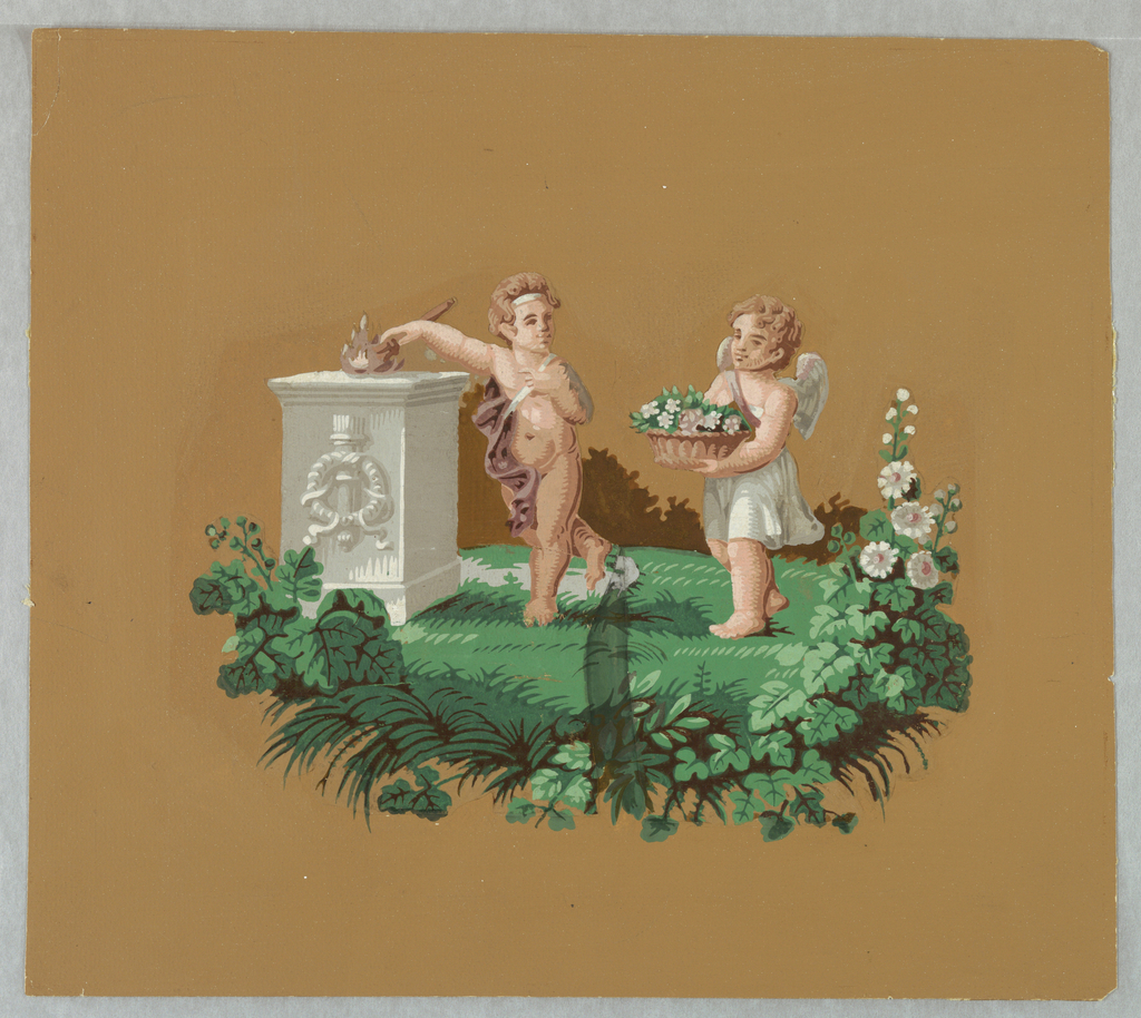 Two putti at an altar; the male putto with a torch, the female with a basket of flowers.