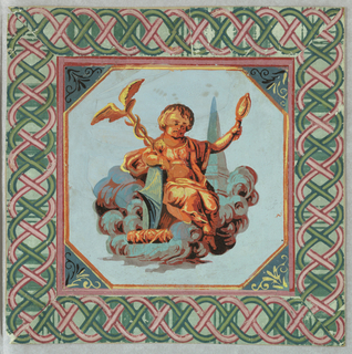 Pieced square. In center, seated putto with caduceus and torch, in yellow, orange, and red, with foliage setting on a pale blue field. Surrounding this, a border of interlaced pink and green braiding on a green field.