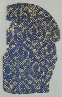 Parts a,b are joined together. Small floral medallions create a diaper pattern. There is an all-over background pattern of very small fish-scale or brick design. Printed in dark blue on a mica ground.