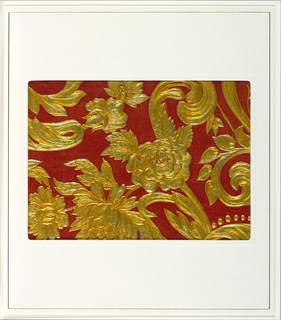 Embossed foliate scrolls and a variety of flowers. There is also a small section of beading. Appears to be the same design as 1998-79-55. Embossed areas printed in gold against a textured red background.