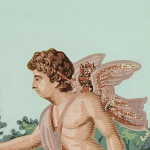 Figure of a cupid running toward the left, in a setting of greenery.