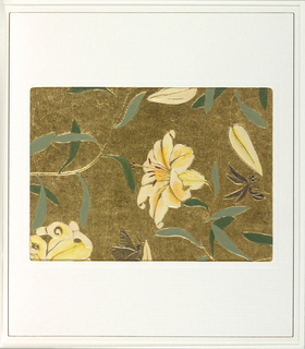 Lilies, printed in colors, growing on gold vine with green leaves. Also contains a bee and butterfly, printed in a black wash. The background is composed of embossed wavy stripes running vertically, printed in metallic gold.