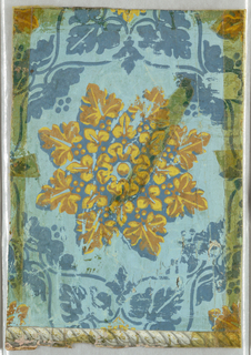 Irise or rainbow paper: a) Shading from red to blue, with large rosette, with border attached; b) Large-scale rosette printed in yellows, surrounded by a chain of blue leaf-in-heart motif, printed on light blue ground. Twisted rope border along one edge.