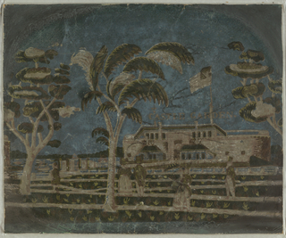 "Bandbox side fragment. With building in background, underneath the words ""Castle Garden"", figures stroll through garden which includes three trees, printed in green, beige and white on deep blue ground."