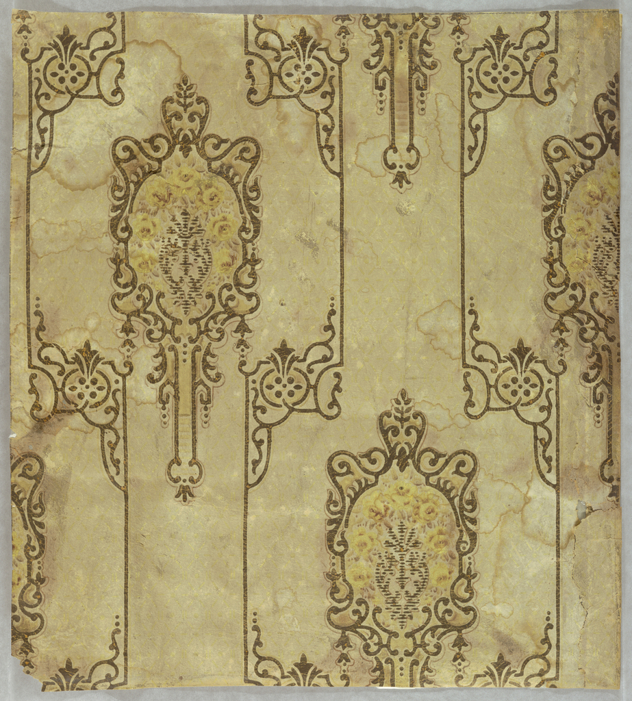 Two joined widths of paper printed with a repeating design of scrollwork, printed in three shades of brown.