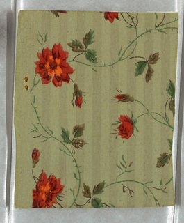 Small roses in bright shaded reds with green and brown leaves in apparentlya continuous all-over scroll effect. Stems of roses are merely green lines.Background is a two-toned narrow vertical stripe. Printed in bright red, green, and brown on two-toned sage green field.