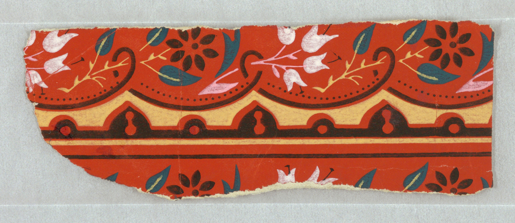 Small portion of a paper, probably for a border, showing simple floral forms. Printed in cream, green, pink, white and black, on orange ground.