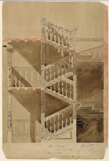 Sketch of stair and balustrade in the Cluny Museum.