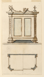 At top, the elevation for a case furniture. Scrolling foot and pilaster decorated with bellflowers. Alternative finials at top include a double headed eagle. Plan at bottom below.