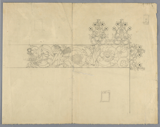 Working drawing for the lace borders of an apron with pattern of peacocks and flowers.