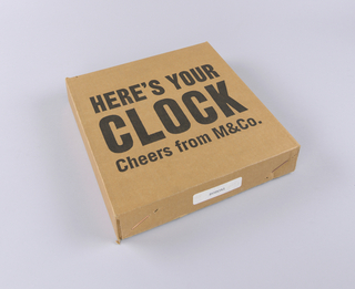 """""""Here's your clock Cheers from M&Co."""""""