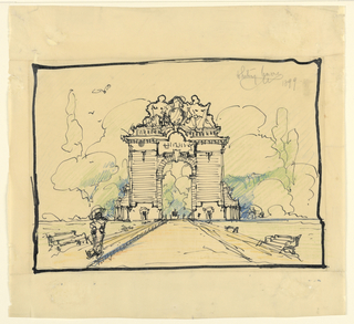 Drawing, Triumphal Arch for a Great Industrial City Like Pittsburgh, Elevation, 1899