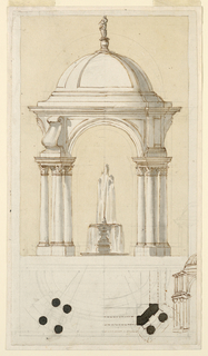 The elevation is on top. The design of the pavilion is a variation of that of -2126. Projecting volutes upon bases and groups of pilasters are suggested, respectively, to flank the arches. The upper basin of the fountain is supported by a shaft. Half of the plan is shown at the bottom. Its right half has been worked over in order to become similar to that of -2125. The left side of a corresponding elevation is sketched at the bottom, right. The vases are not shown.