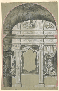 "A canopy is shown as the frame of a painting over an altar in the center.  Laterally are pilasters, the left one showing a candle bracket. An escutcheon is held by two angels in the left bay; ""Love"" with four children is shown in the right bay.  Curtains are in either bay.  The Immaculate Conception is shown in the conch, revered by angels and two small saints."