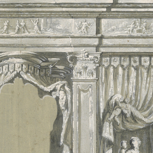 Drawing, Side Chapel, with Figures of Charity, the Virgin, and Saints