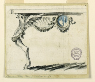 Elevation of a partial table. The leg in the form of a bird with claw foot. Three festoons and a central blue medallion. Dark cast shadow below.