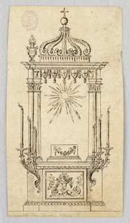 A dado showing a decorated panel and two rising brackets with three arms and burning candles. Above is a base beneath a glory of rays. Laterally are pairs of embedded columns supporting the entablature. A crown on top between vases with flames.