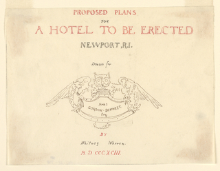 Title page for architectural plans. Owl with spread wings over entablature at center around the name of James Gordon Bennett, Esq.