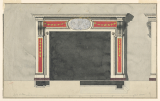 Laterally are pilasters with huge brackets as capitals. They show panels with garlands hanging in the upper parts. The inner frame is projecting in its upper part; rosettes are those inside. In the center above it is an ovoidal medallion, from which festoons hang in the lateral panels. Above are the cornices of an entablature. At right is the elevation shown in profile. Shadow, coloring, plans, scale as ion 1938-88-8218. Framing line and stripe.