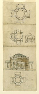 Three plans and two elevations for domed Palladian-style villas with porticos.