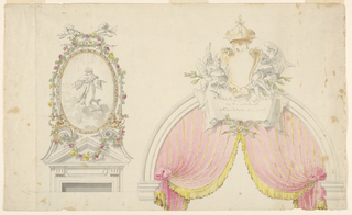 At left, a door with triangular pediment topped with an oval panel showing a kneeling saint, surrounded with flowers. At right, a hemispherical overdoor hung with fringed pink textile.  Above, two angels hold a crowned cartouche.