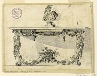Elevation of a table with cabriole legs with caryatids. The stretcher decorated with a basket of fruits and flowers. Drapery hang from below the lip of the table. Sitting at top, a classical style bust.
