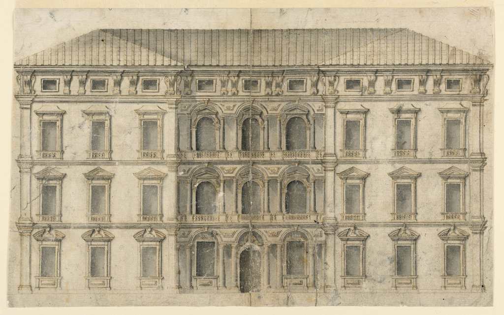 Elevation of a three-storied palace, with a triple-bay recessed central section with galleries. The windows are pedimented and the roof is supported on paired brackets, between which are small attic windows.