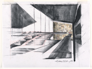 Architecture drawing of Museum of the Earth showing one interior section of planned museum (fossil wall) and relation to exterior.  Interior space on right side, centering around fossil wall (photographic reproduction) which is pasted on vellum.  Black charcoal rendering of inclined ramp rising toward right side of fossil wall.  Lower  walkway in direction of left of fossil wall next to series of glass walls. On left side, exterior (landscape design) illustrated in black charcoal.  Shows two series of steps.