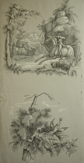 Two full widths, each with two different scenes, one below another.  a: is above, man on galloping horse, aiming rifle at a deer; below, birds at nest with newly-hatched birdlings;  b: above, still life of fruit, with large melon; below, deer in rocky clearing.  Printed in white and greys on grey ground.