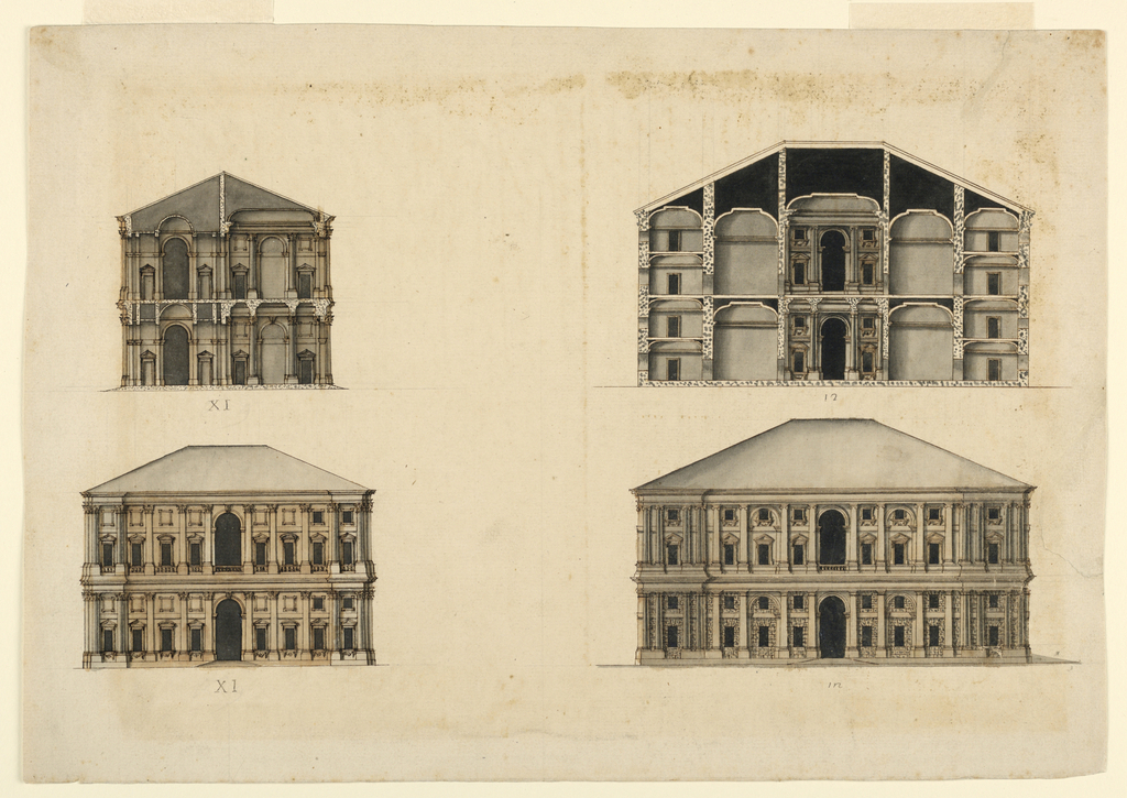 At top, two palazzo cross sections. Below, two elevations ; the one at right shows a rusticated façade.