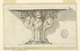 Elevation of a table in the form of three winged lions supporting a flat plinth.