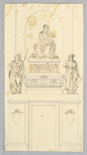 Contour drawing showing a plinth decorated with two crowned shields. Above, two female saints flank a casket with an illegible inscription. Above this, a frieze of a mourning scene and a sculpture of a man in ancient style dress seated with a crown at his feet.